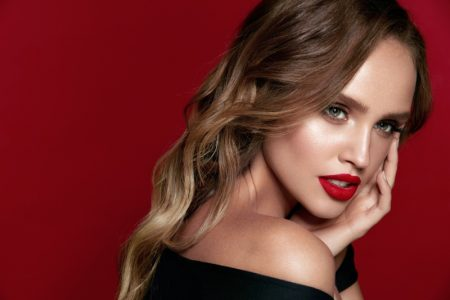 Model Ombre Hair Red Lipstick Makeup Beauty