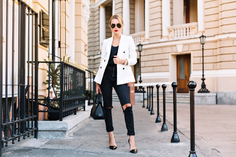 Model White Blazer Ripped Jeans Bag Outfit