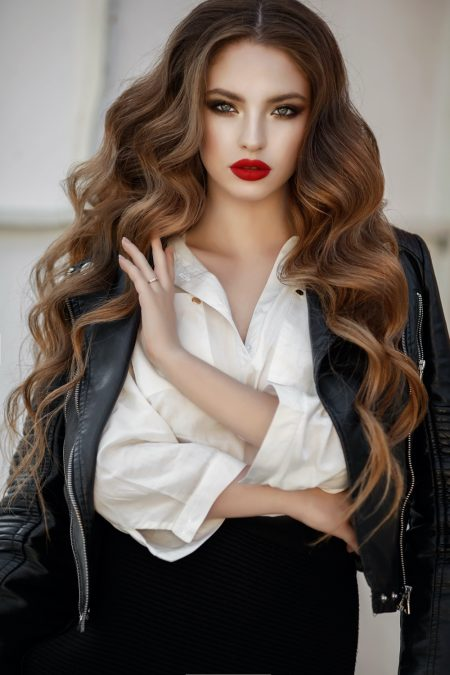 Model with Hair Extensions