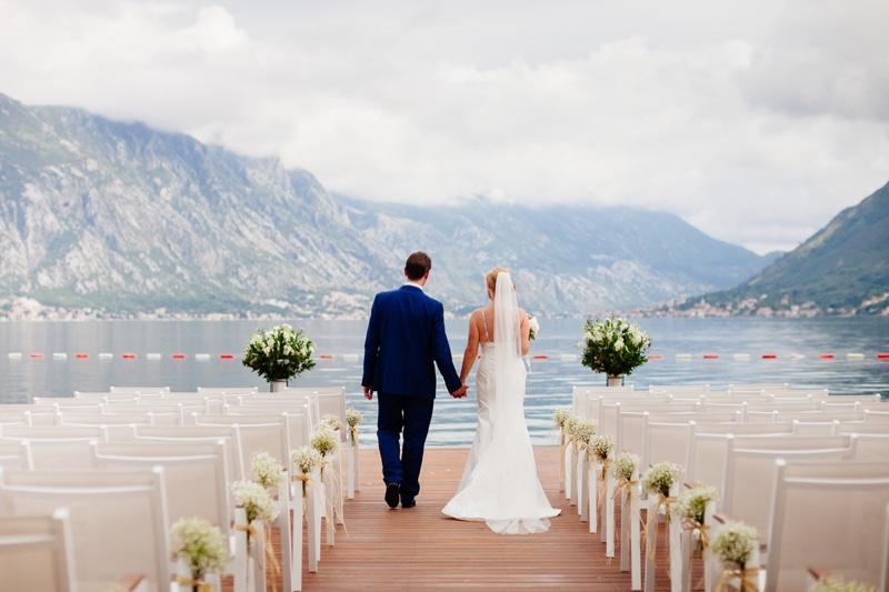 Outdoor Wedding Bride Groom Back Montenegro