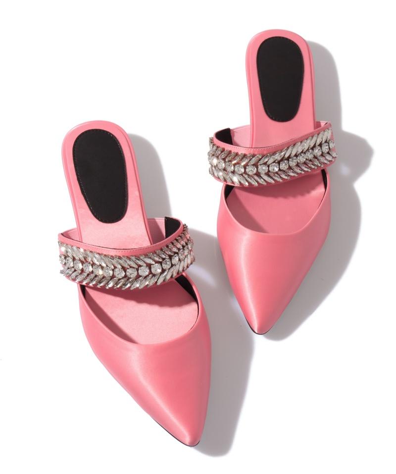 Pink Mule Satin Shoes Crystal Embellished Strap