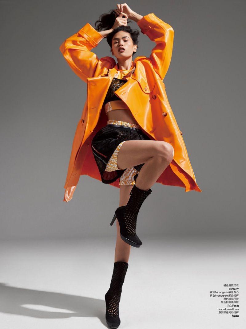 Qun Ye Models Sporty Glam Looks for ELLE China
