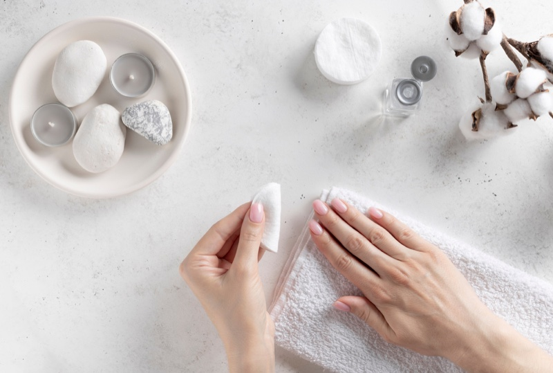 Removing Pink Nail Polish Cotton Round