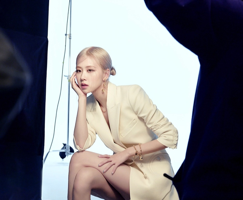 Singer ROSÉ behind the scenes at Tiffany & Co. photoshoot.
