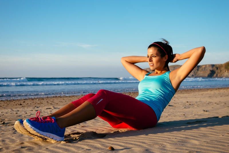 Situps Beach Workout Outfit Exercise