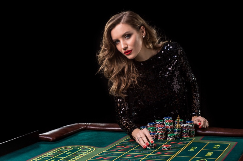 Woman Black Sequin Dress Table Chips Casino