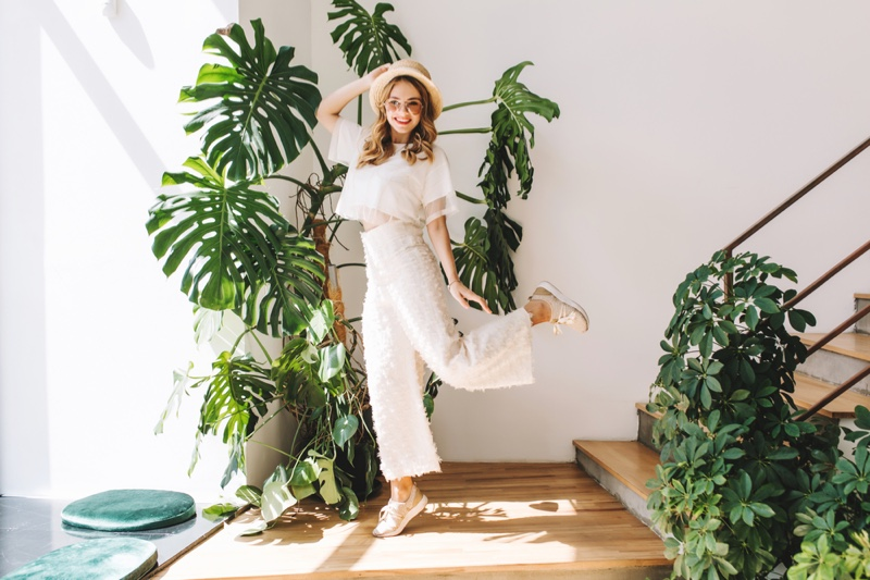 Woman Home Plants White Top Pants Casual Outfit