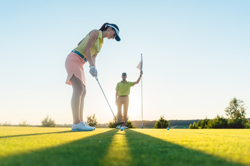 Woman Playing Golf Grass Cute Outfit