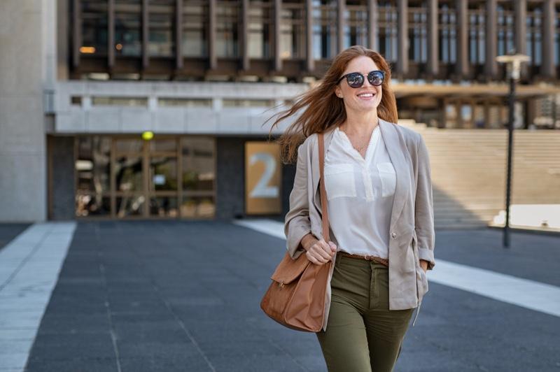 Woman Smiling Blazer Shirt Green Pants Professional