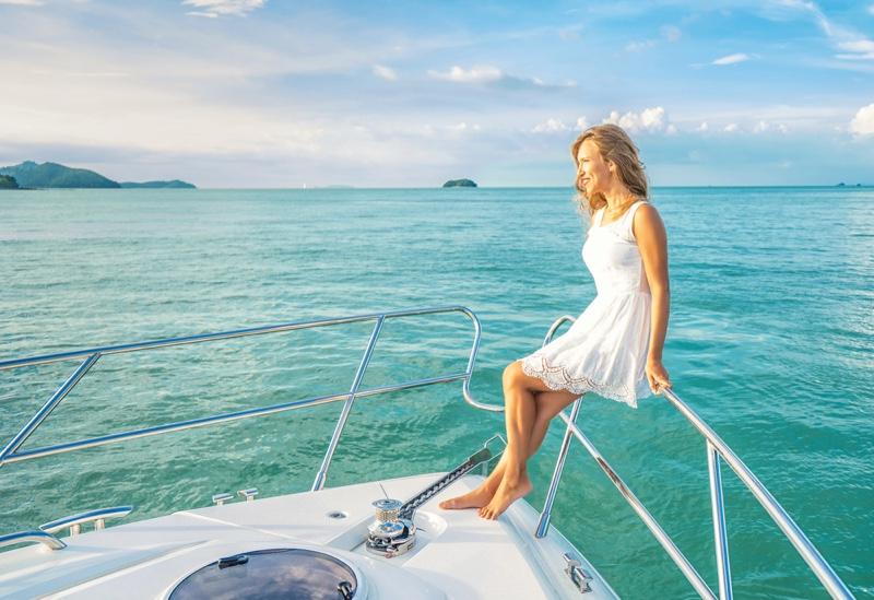Woman White Dress Boat Yacht