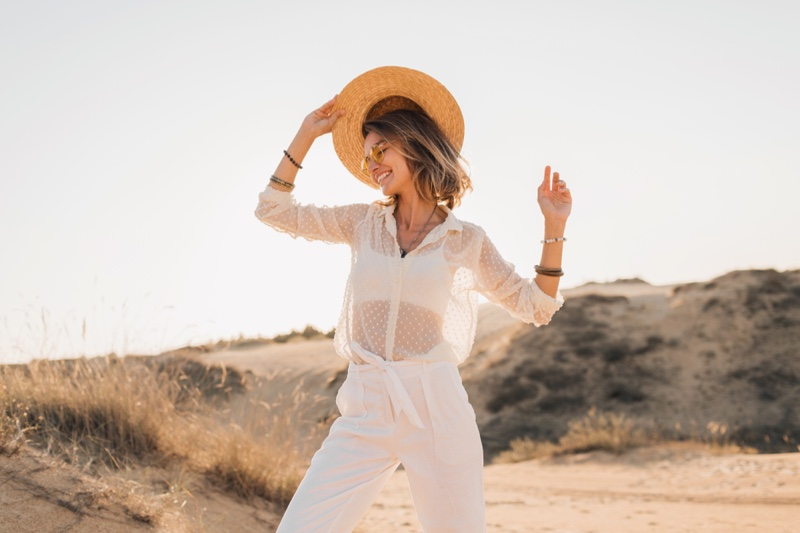 Woman White Outfit Shirt Pants Outdoors