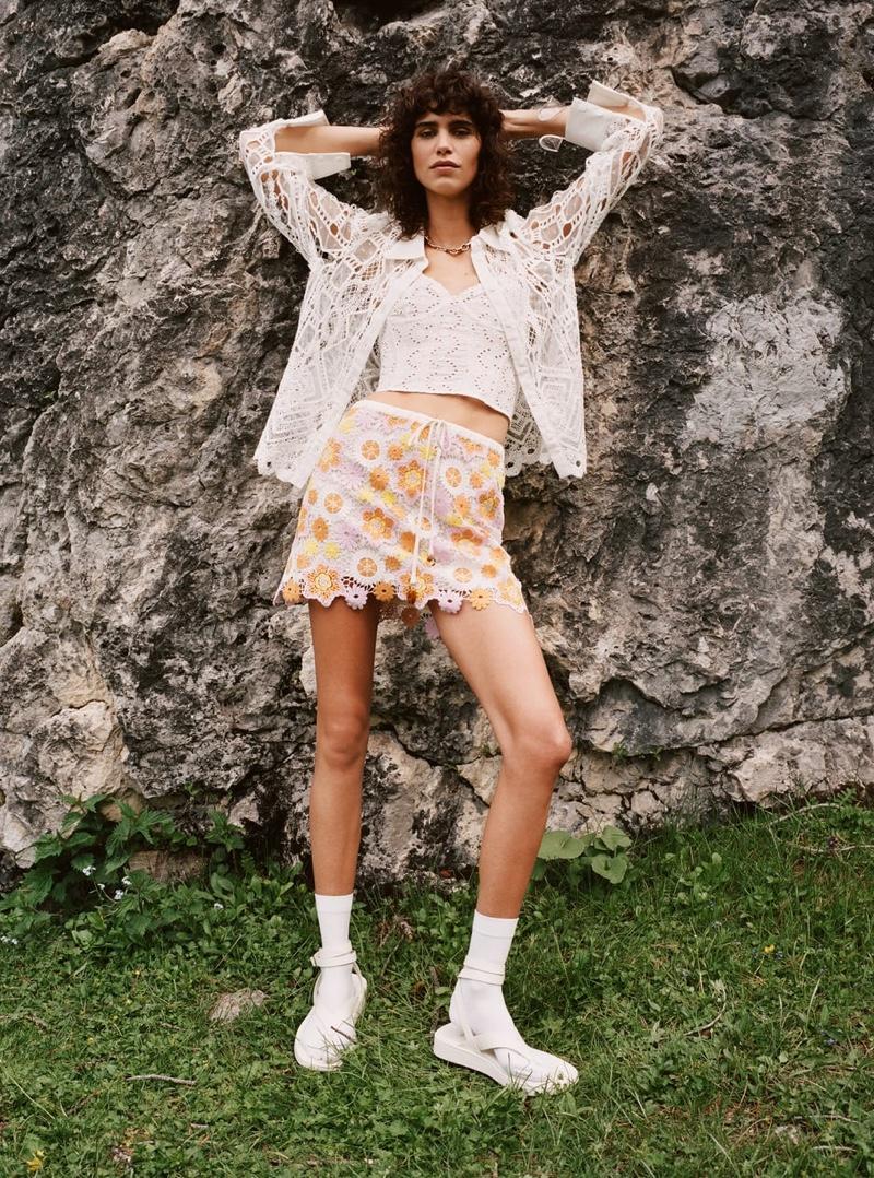 Zara Linen Blend Crochet Shirt and Crochet Mini Skirt.