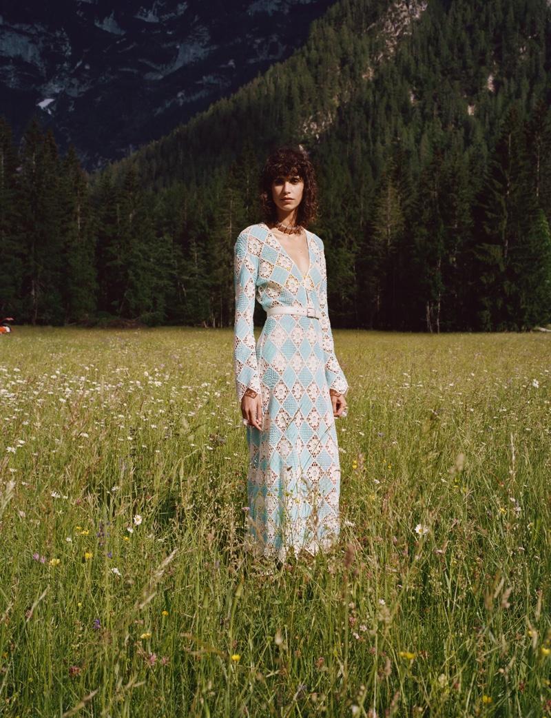 Mica Arganaraz poses in Zara Sulle Dolomiti summer 2021 editorial.