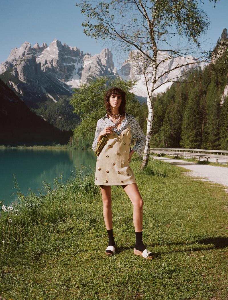 Zara Long Linen Shirt, Jewel Trim Mini Dress, and Wooden Leather Slides.