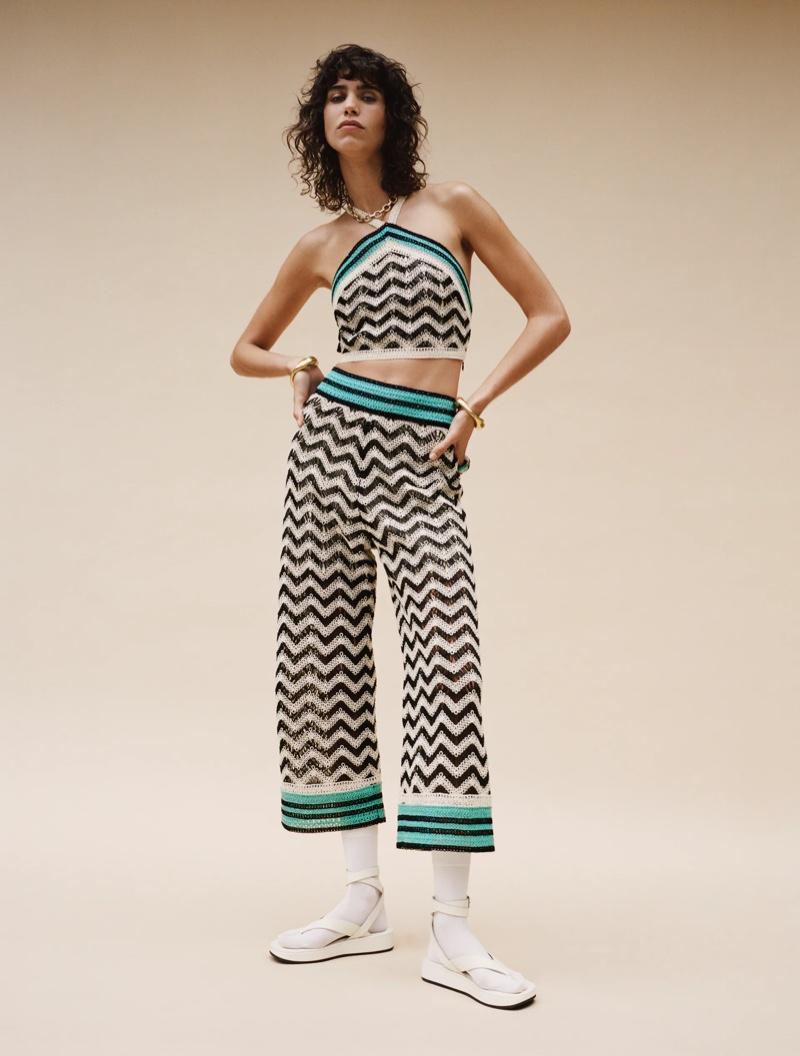Zara Crochet Halter Top and Crochet Pants.