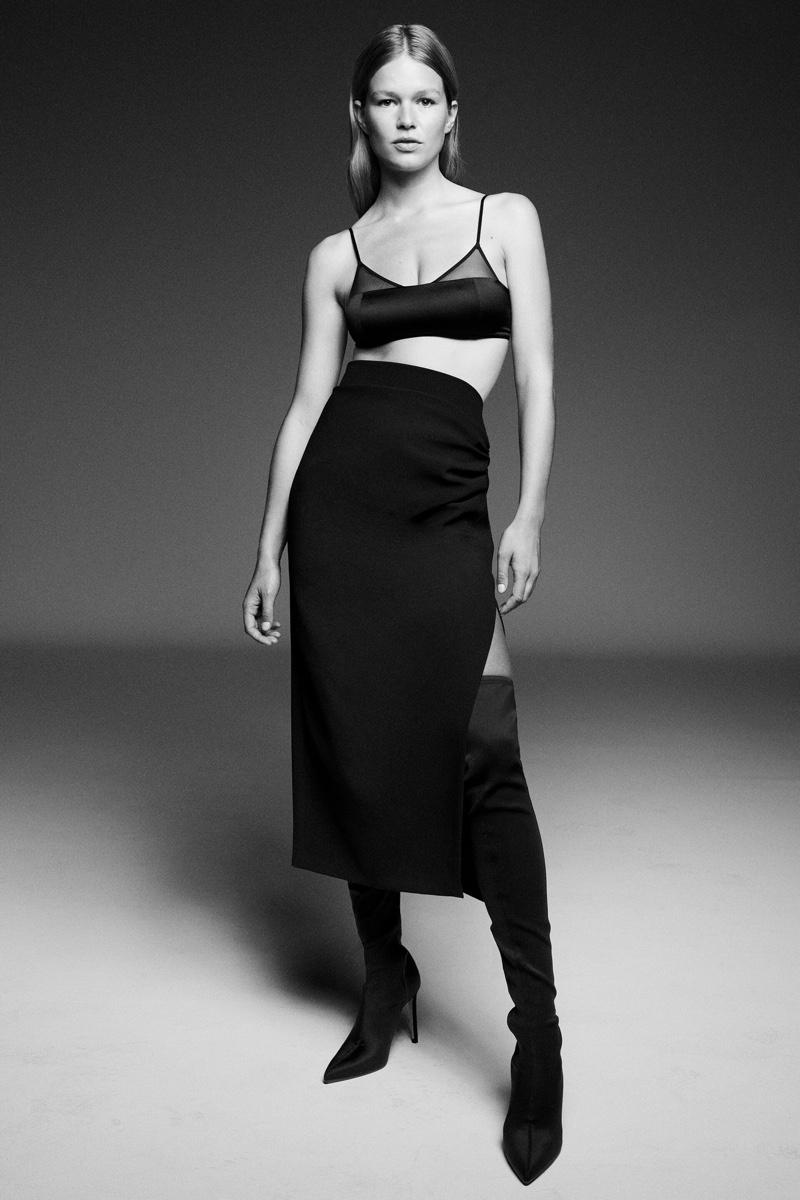 Zara Silk Bralette and Draped Pencil Skirt.