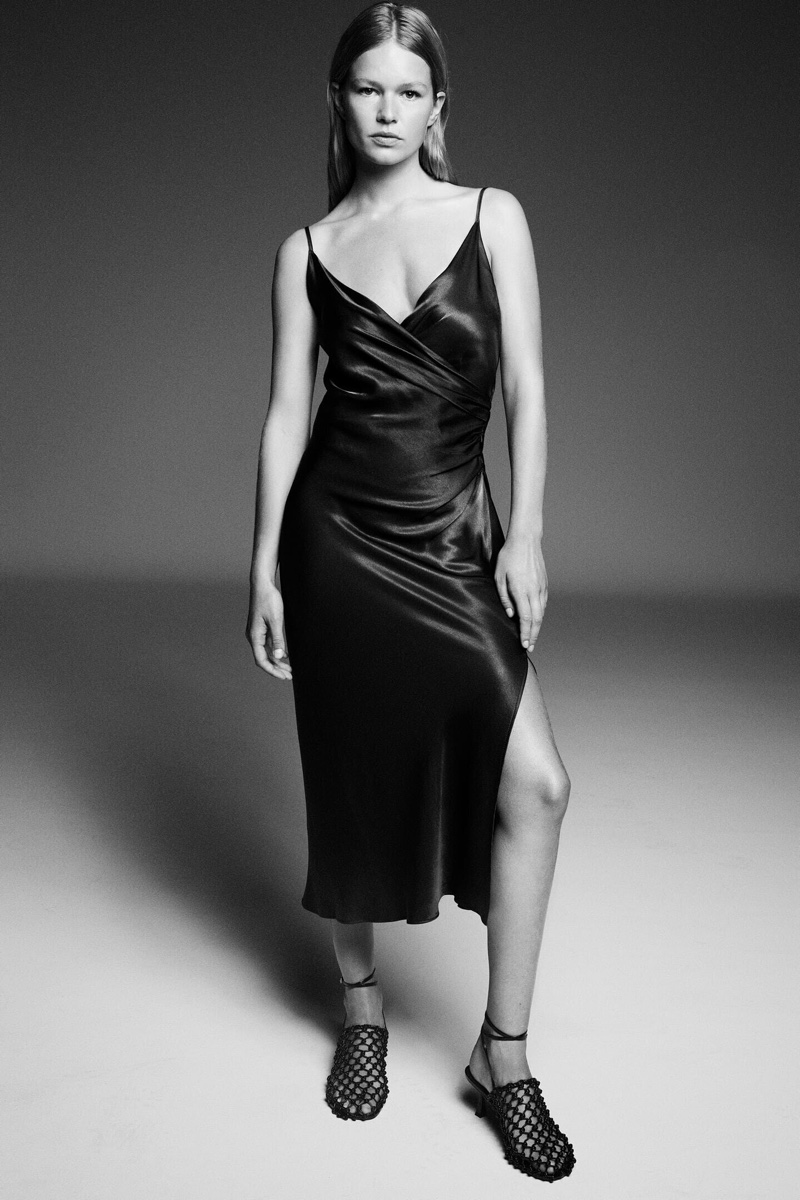 Zara Draped Lingerie- Style Dress.