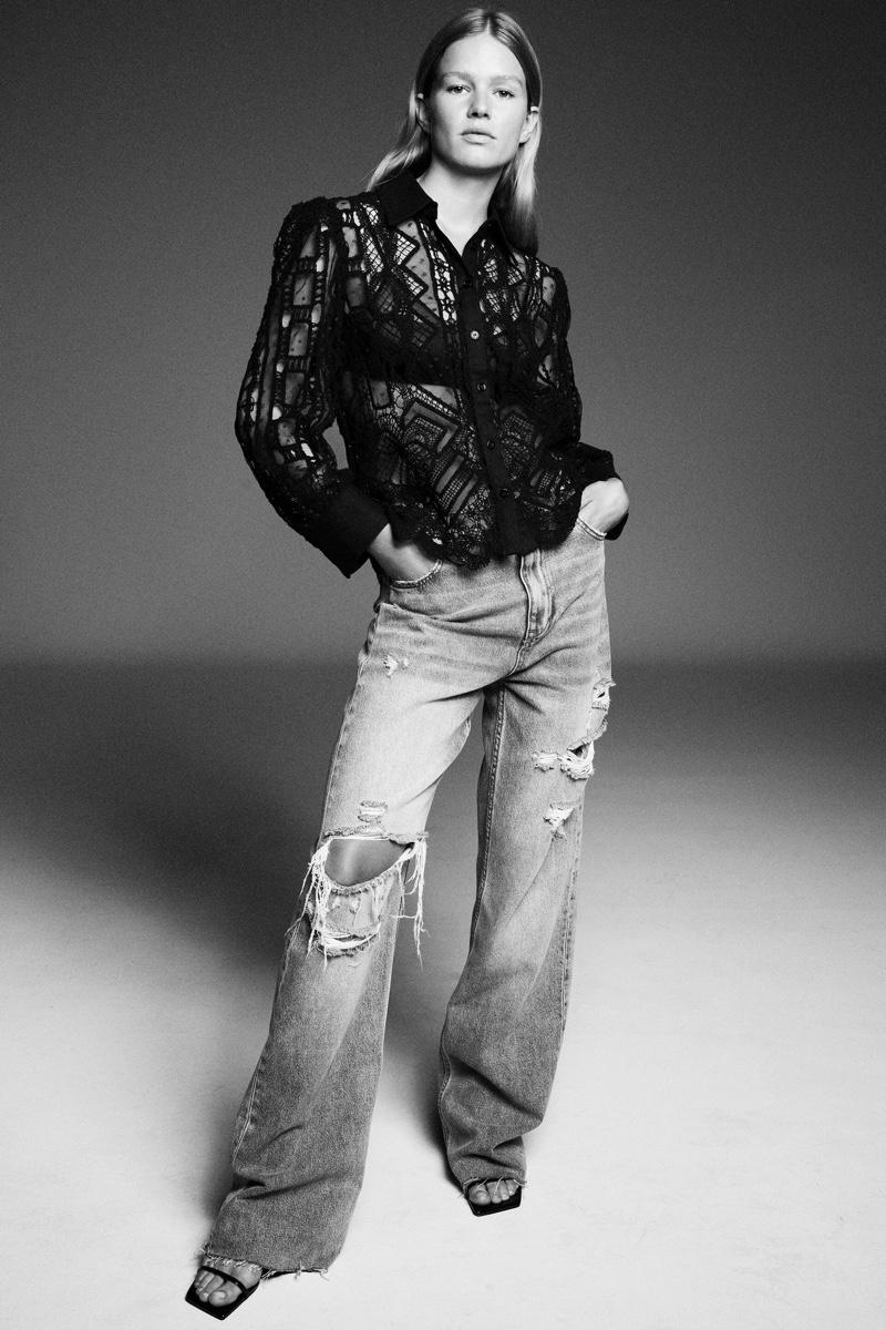 Zara Linen Blend Crochet Shirt and ZW The '90s Full Length Jeans.