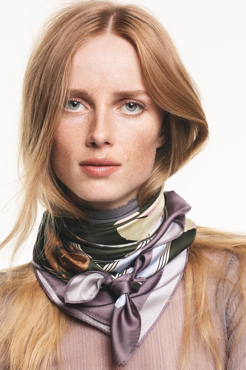Zara Limited Edition Semi-Sheer Top and Scarf.
