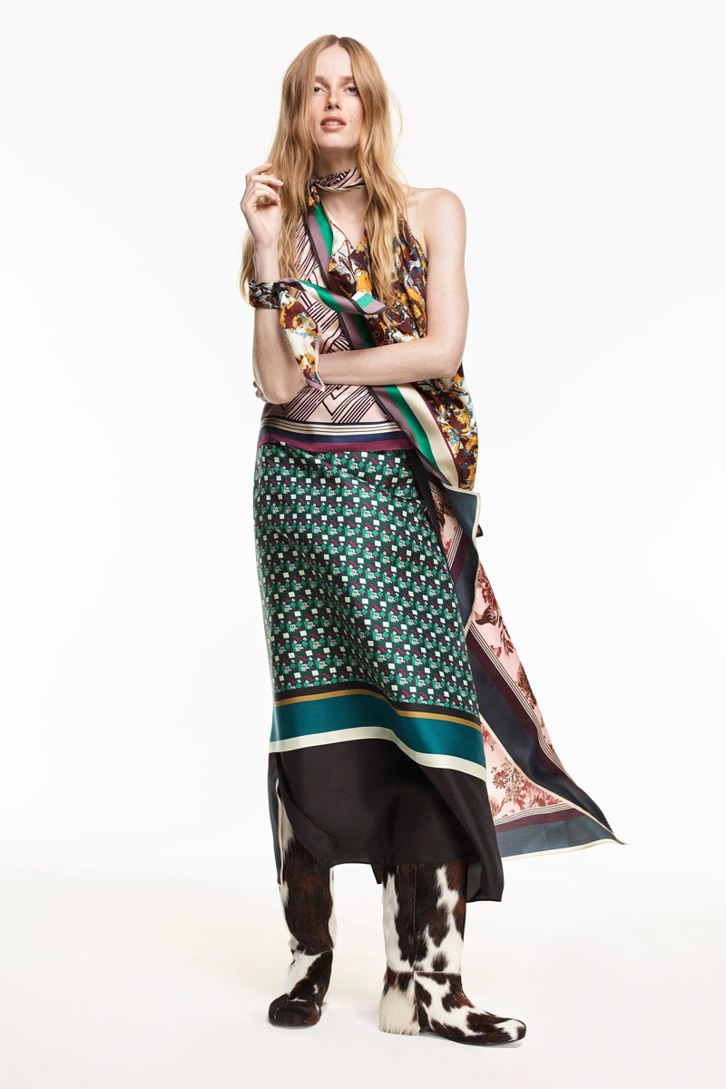 Zara Limited Edition Printed Silk Top and Pareo Skirt.