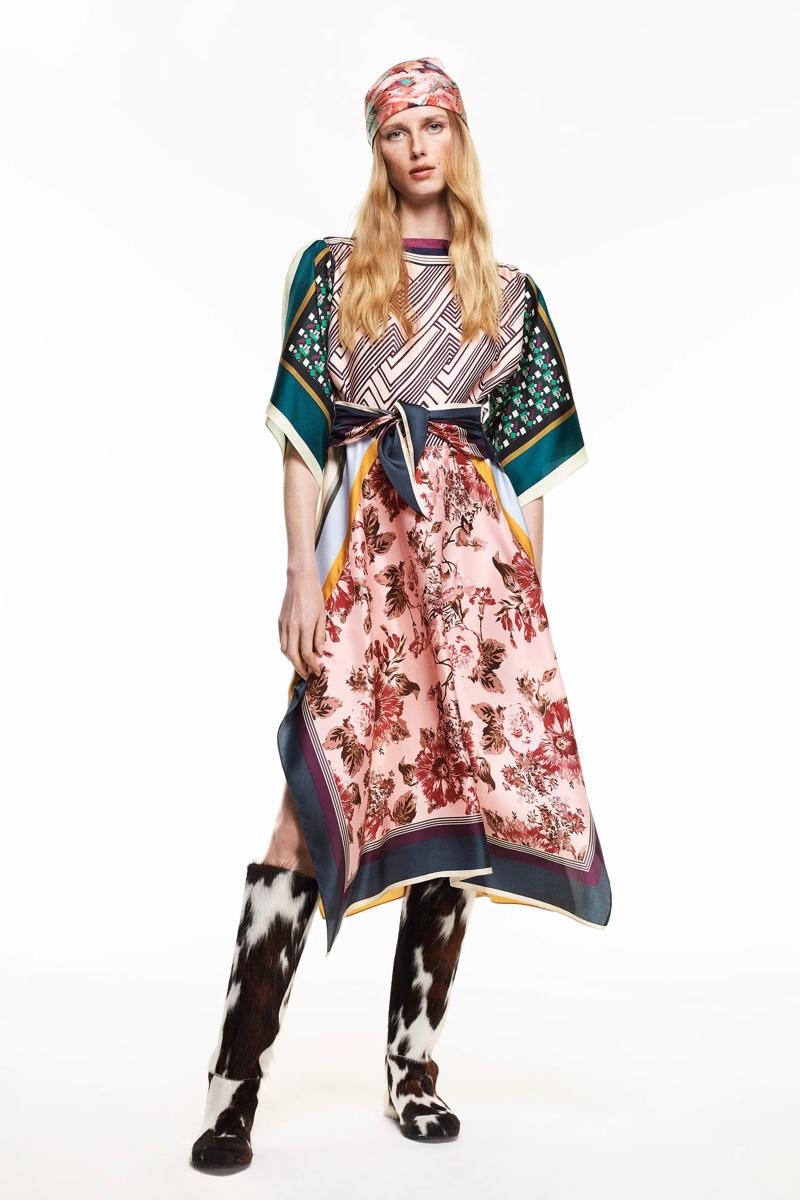 Zara Limited Edition Printed Silk Dress.
