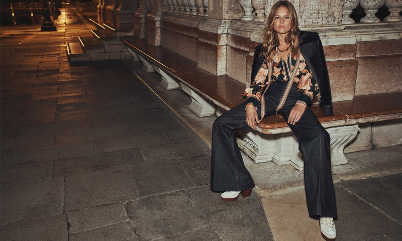 Anna Ewers poses in Zimmermann fall 2021 In Concert campaign.