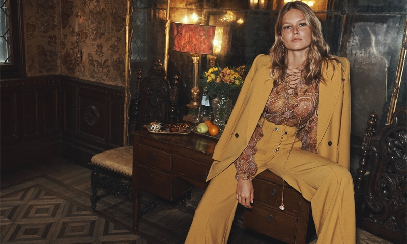 Suiting up, Anna Ewers models in Zimmermann fall 2021 campaign.