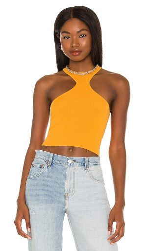 h:ours Kyla Cropped Top in Orange. - size L (also in M, S, XS)