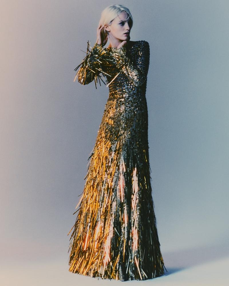 Fran Summers stars in Alberta Ferretti fall-winter 2021 campaign.