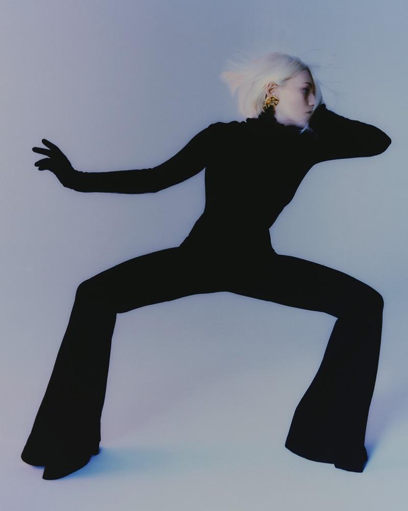 Striking a pose, Fran Summers appears in Alberta Ferretti fall-winter 2021 campaign.