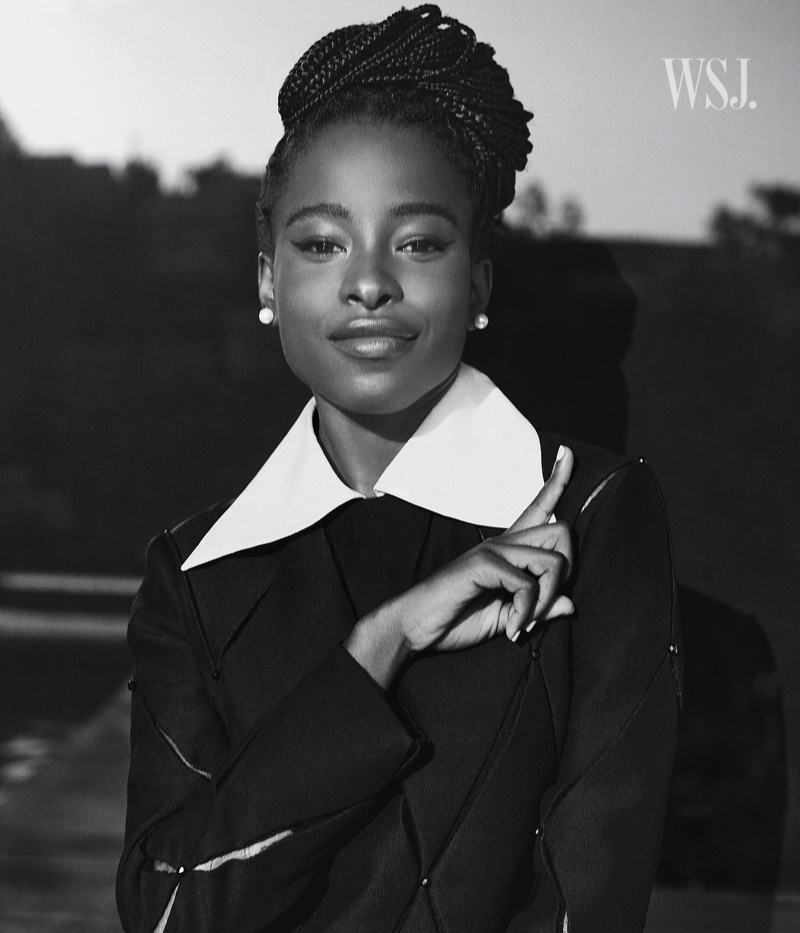 Photographed in black and white, Amanda Gorman flashes a smile. Photo: Cass Bird for WSJ. Magazine