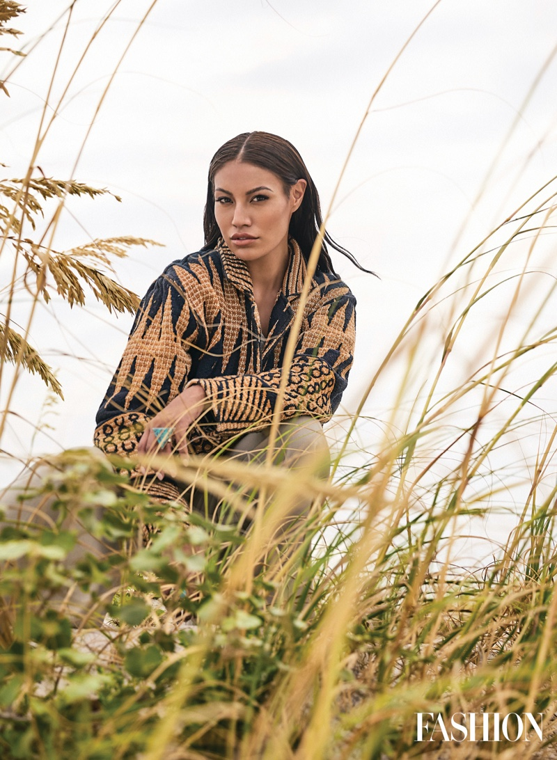 Actress and influencer Ashley Callingbull wears 4Kinship jacket and jewelry with Evan Ducharme top and pants. Photo: Gabor Jurina / FASHION