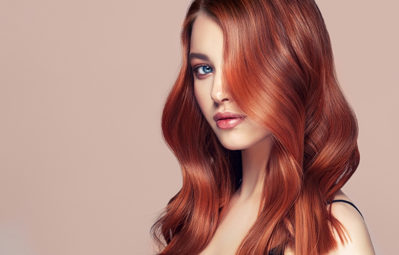 Beauty Model Red Dyed Hair Side Part Over Eye