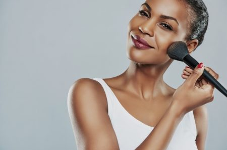 Black Model Applying Makeup Brush Beauty