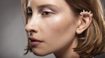 Closeup Beauty Model Crystal Ear Cuff