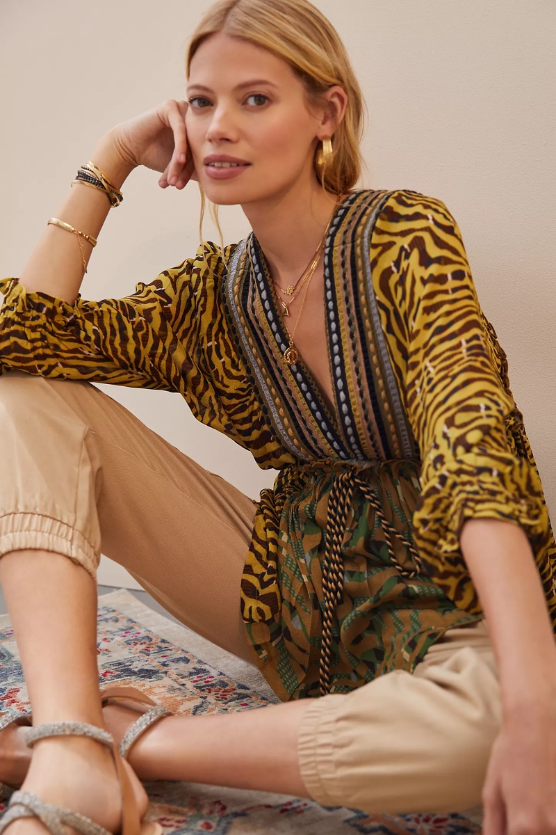 Conditions Apply Embroidered V-Neck Blouse $148
