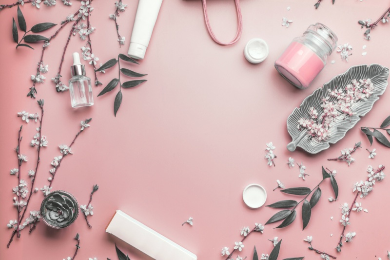 Cosmetic Products Pink Background Natural Concept