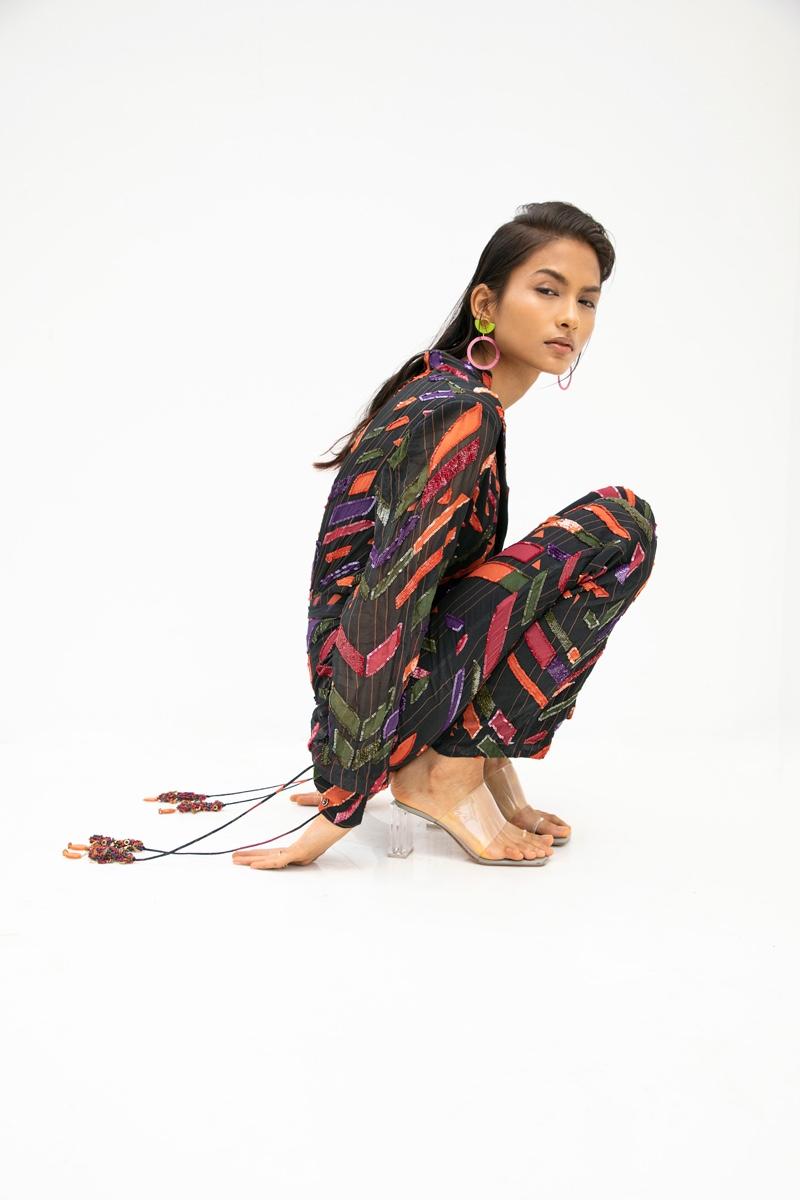 Jumpsuit Nirmooha, Earring Semidot Studio & Footwear Zara. Photo: Kay Sukumar