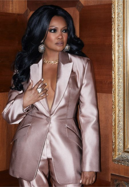 Suiting up in pink, Garcelle Beauvais wears Garcelle x Roni Blanshay jewelry collection. Photo courtesy