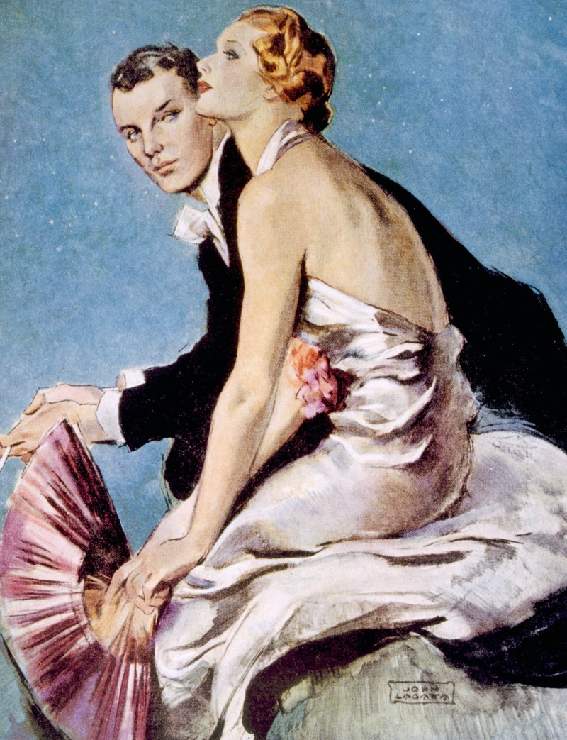 An illustration features a model wearing a draped evening dress, a popular look for the 1930s. Photo: Shutterstock.com