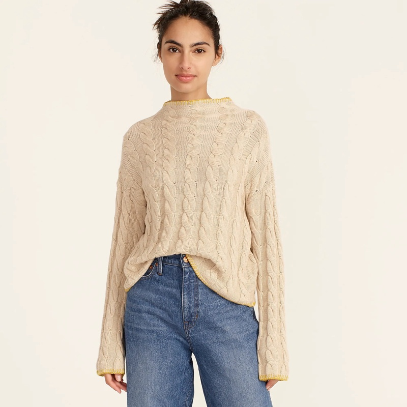 J. Crew Cotton Cashmere Cable-Knit Mockneck Sweater in Hthr Natural $128
