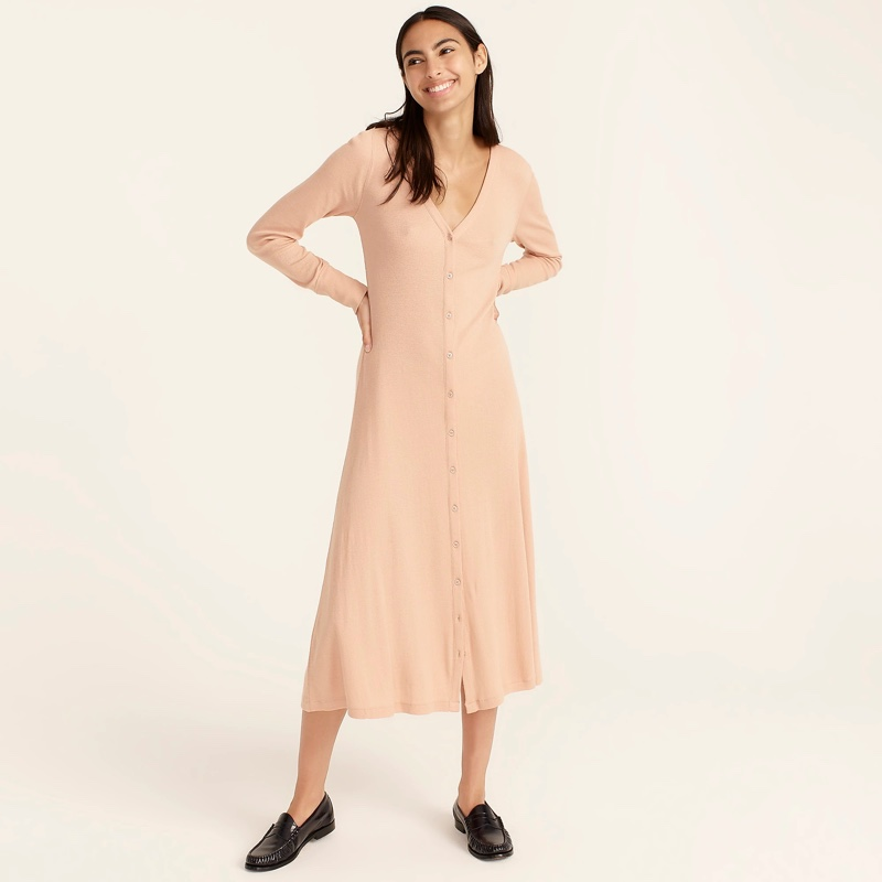 J. Crew Ribbed Button-Front Knit Dress in Luxury Camel $98