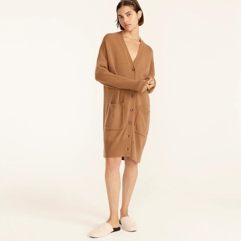 J. Crew Tie-Waist Cardigan Dress in Wool-Cashmere $248