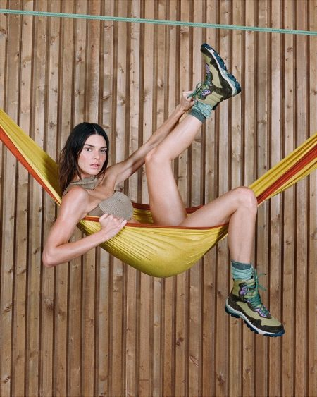 Posing in a hammock, Kendall Jenner fronts Jacquemus fall-winter 2021 campaign.