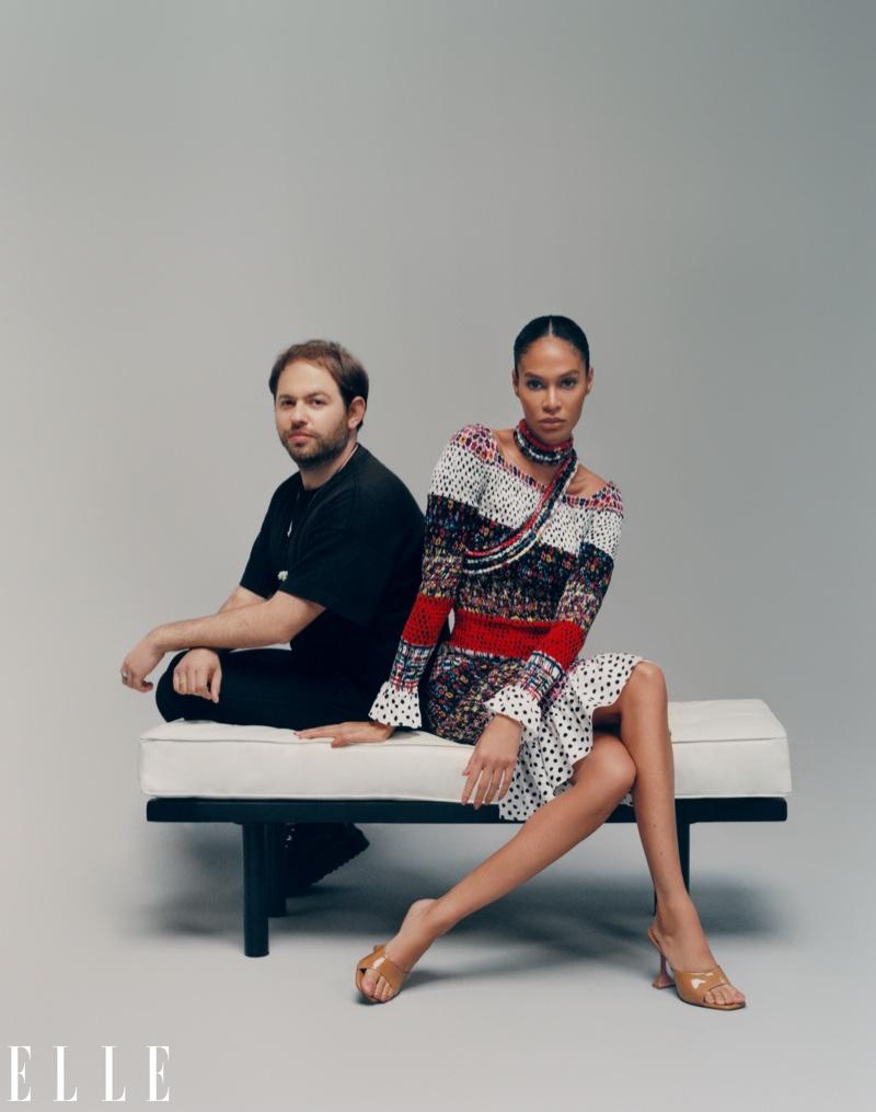 Joan Smalls with Jonathan Cohen. Photo: Emmanuel Sanchez-Monsalve for ELLE US