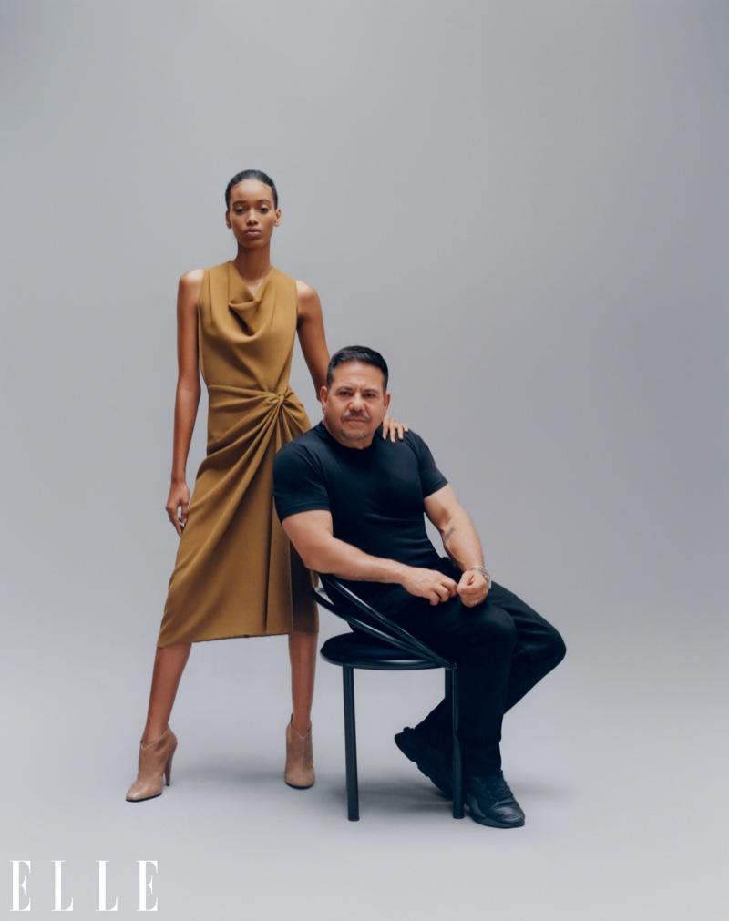 Manuela Sanchez poses with Narciso Rodriguez. Photo: Emmanuel Sanchez-Monsalve for ELLE US