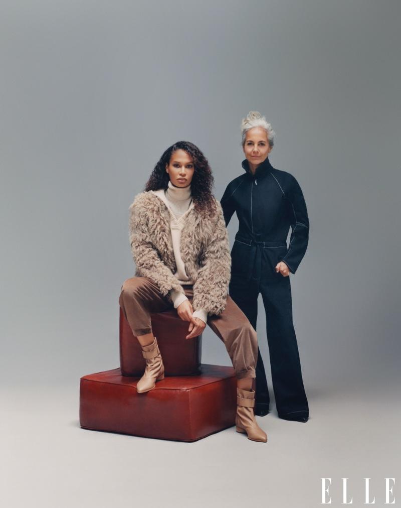 Joan Smalls poses with designer Maria Cornejo. Photo: Emmanuel Sanchez-Monsalve for ELLE US