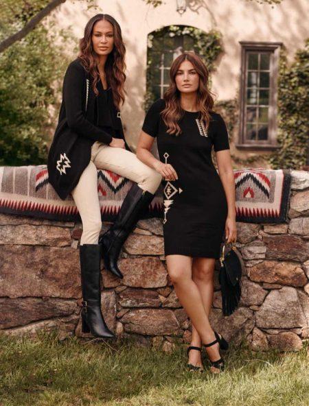 Joan Smalls and Lily Aldridge pose for Lauren Ralph Lauren fall 2021 campaign.