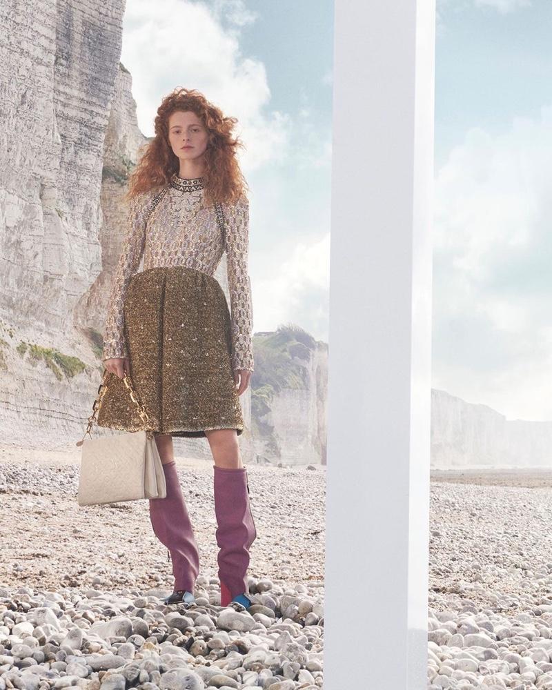 Clémentine Balcaen stars in Louis Vuitton fall-winter 2021 campaign.