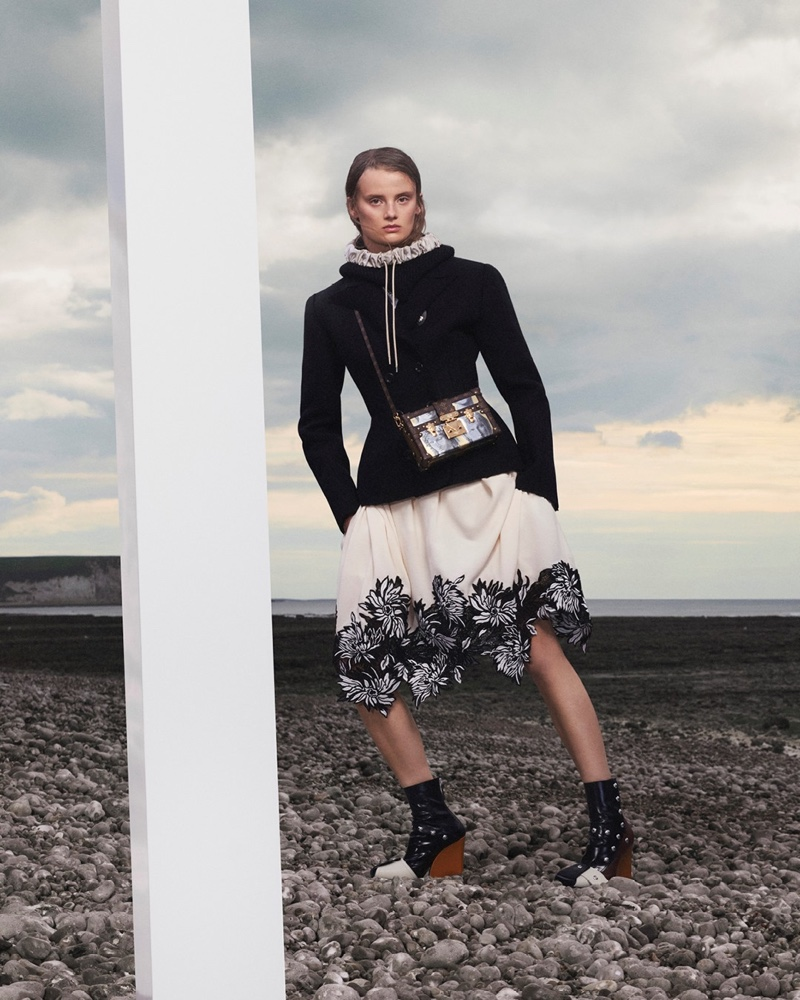 Evie Saunders appears in Louis Vuitton fall-winter 2021 campaign.